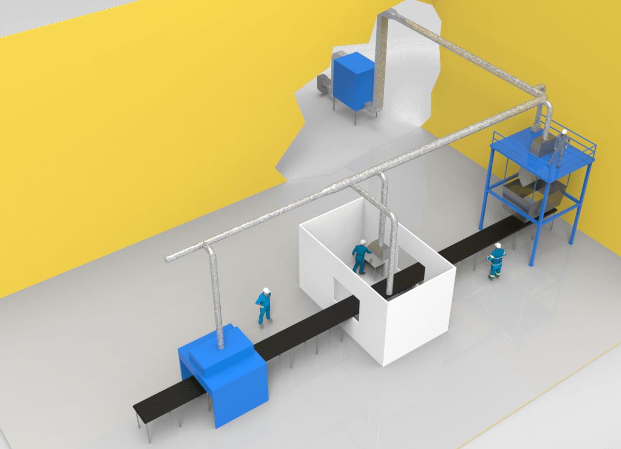 ilustración sistema de extracción localizada en nave industrial