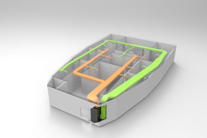 Esquema instalación líneas en barco + ubicación calefactor eléctrico