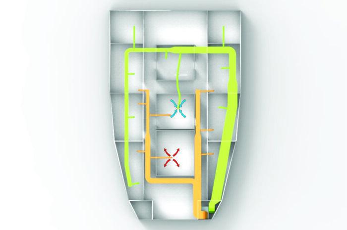 Esquema instalación líneas calefactor eléctrico en barco